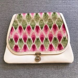 Vintage clutch w/ pink and green embroidery